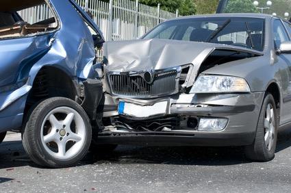 Two cars crashed. Close up image